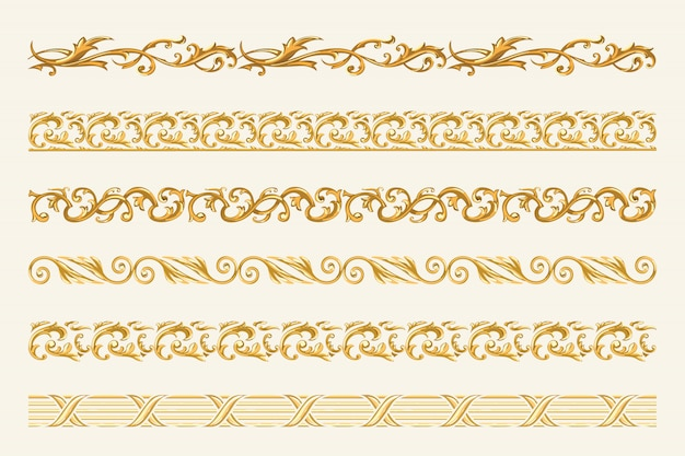 Set of gold chains and ropes isolated on white background.