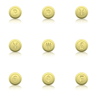 Set of gold coin icons with reflection.
