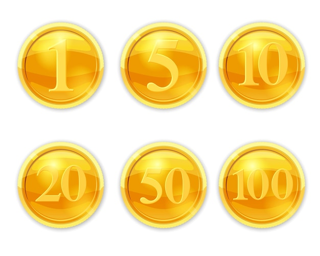 Set gold coins numerals illustration cool coins set vector cartoon style isolated