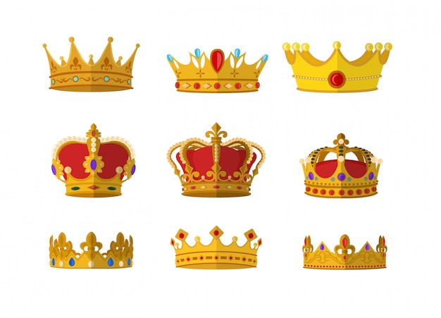 Set of gold crown icon with different size and model