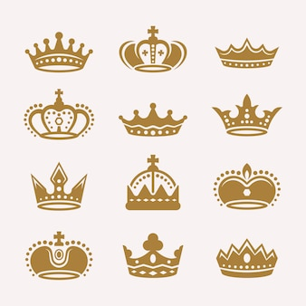 Set of gold crowns isolated vector icons