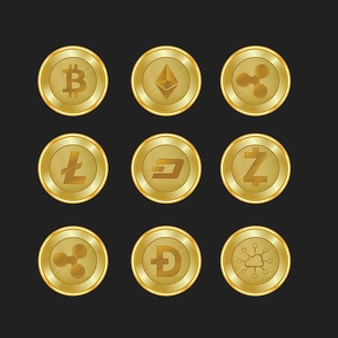 Set of gold crypto currencies with golden color