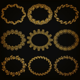 Set of gold decorative ornamental borders, frame