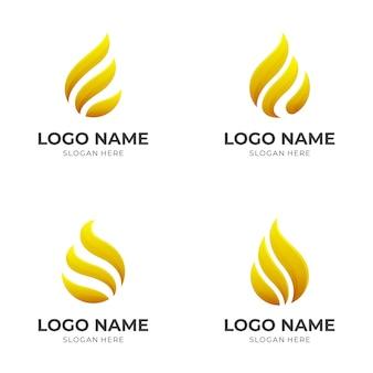 3dゴールドカラースタイルでゴールドの火のロゴのコンセプトを設定します
