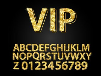 Set Gold font shapes composition.