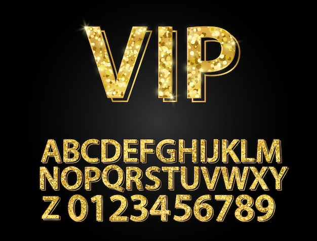 Set gold font shapes composition.