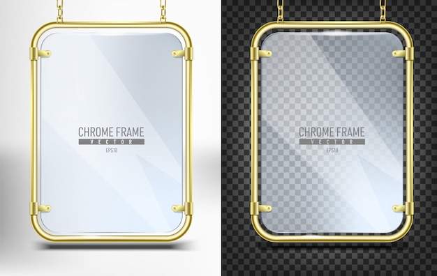 Set of gold frame with glass for banner  . advertising space panel for text  hanging on chains on white and black background