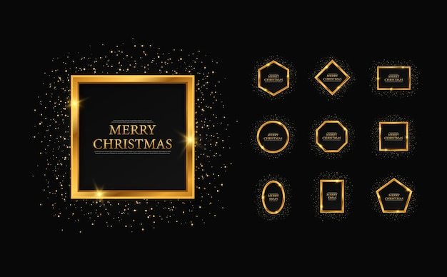Set of gold geometric frames for christmas christmas and new year card