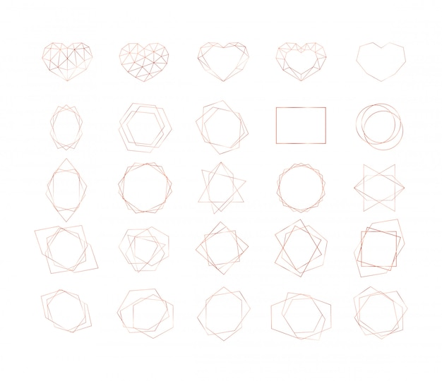 Set of gold geometric shapes. circles, triangles, hearts and other different shape frames