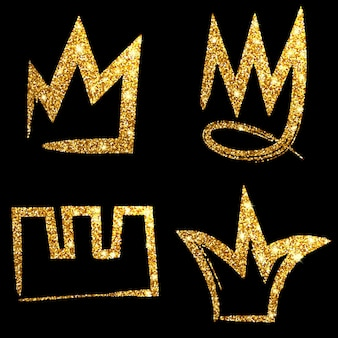 골드 반짝이 손으로 그린 왕관을 설정합니다. 왕, 여왕, 공주에 서명하십시오. 벡터 일러스트 레이 션.