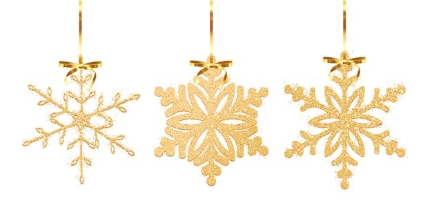 Set of gold glitter texture snowflake isolated on white background.  illustration
