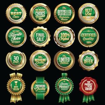 Set of gold green retail badges