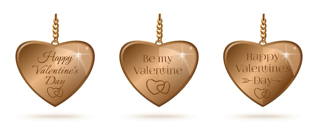 Set of gold hearts with greeting lettering for valentines day. be my valentine. happy valentines day.  illustration