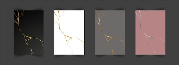 Set of gold kintsugi backgrounds. crack and broken effects. marble texture.