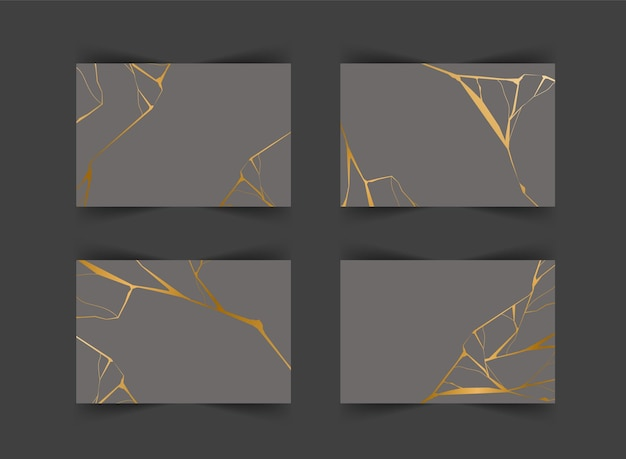 Set of gold kintsugi backgrounds. crack and broken effects.