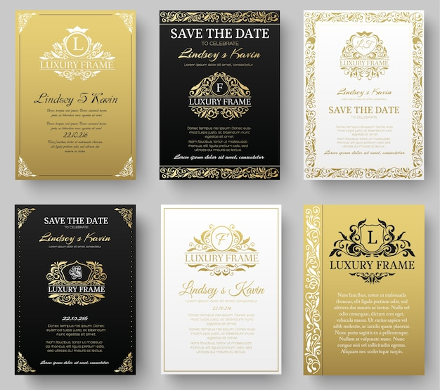 Set of gold luxury flyer pages set with logo ornament illustration concept