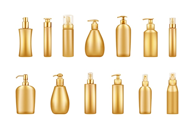 Set of gold luxury pump bottle mockups: serum, moisturizer, lotion, cream, sanitizer
