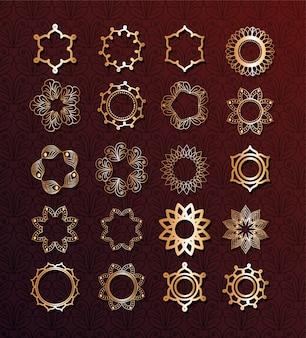 Set of gold mandalas on brown background design of bohemic ornament