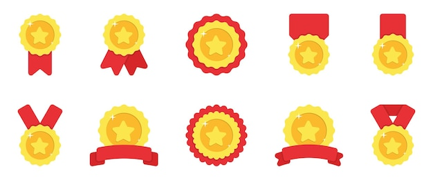 Set of gold medals with red ribbon and stars illustration