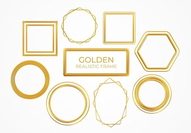 Set di cornici realistiche in metallo dorato di diverse forme isolate su priorità bassa bianca