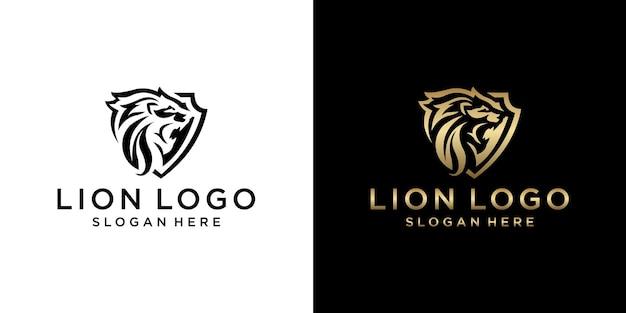 Set of gold  monogram lion logo design