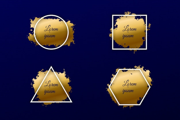 Set of gold paint brush strokes with geometric frame luxury shine banner