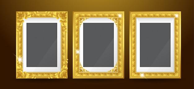 Set of gold photo frame