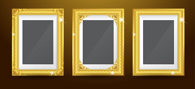 Set of gold photo frame
