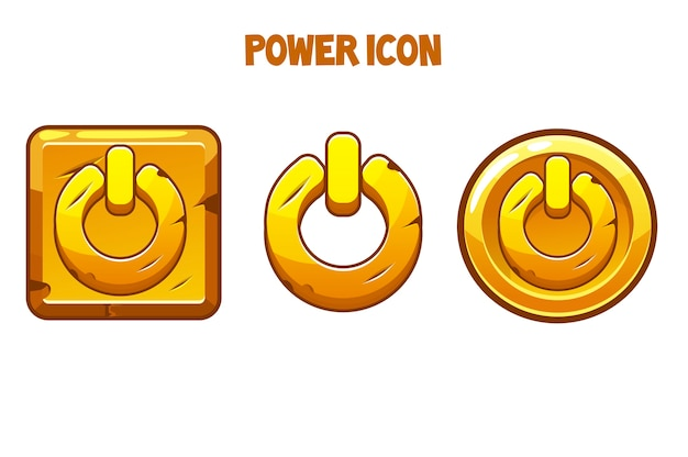 Set of gold power icons of different shapes.