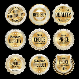 Set of gold retail badges isolated on black