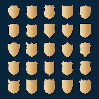 Set of gold shields on blue background