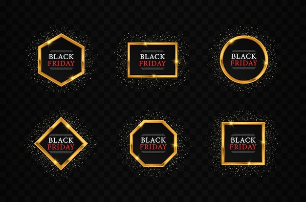 Set of gold shiny glowing frames for black friday