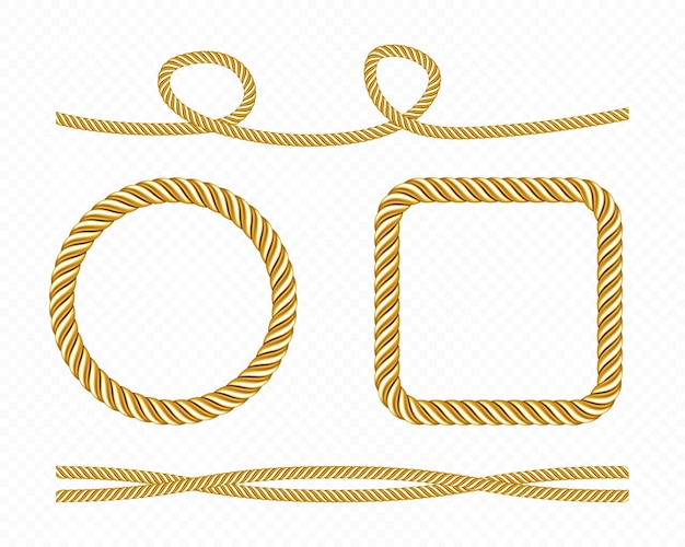 Set of gold silk cords and round and square frames of satin rope golden threads.