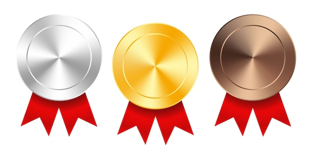 Set of gold, silver and bronze award medals with red ribbons. medal round empty polished vector collection isolated on white background. premium badges.