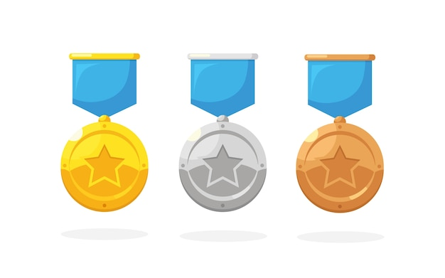 Set of gold, silver, bronze medal with star for first place. trophy, award for winner  on background. golden badge with ribbon. achievement, victory .