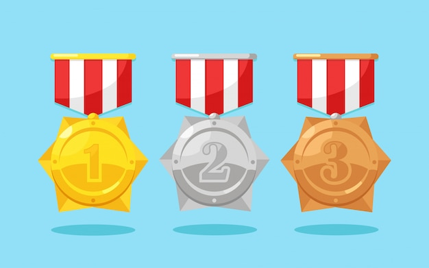 Set of gold, silver, bronze medal with star for first place. trophy, award for winner isolated on background. golden badge with ribbon. achievement, victory concept. cartoon flat design