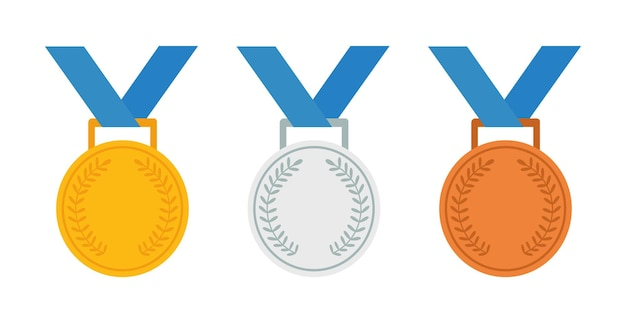 Set of gold silver and bronze medals vector icon
