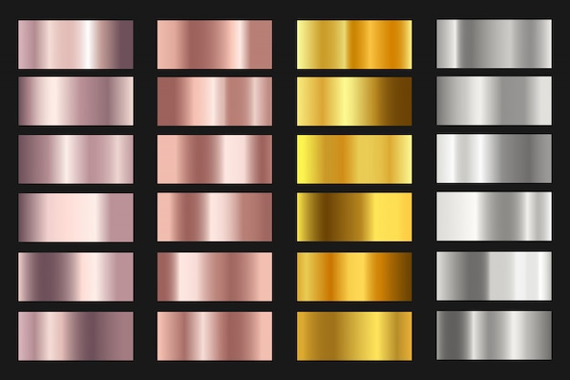 Set of gold, silver, bronze and rose gold foil texture backgrounds.