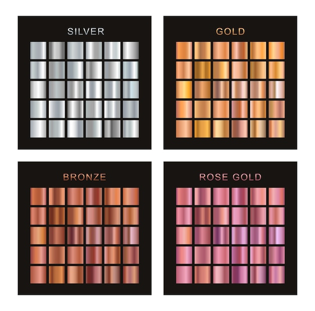 Set of gold, silver, bronze and rose gold gradients.