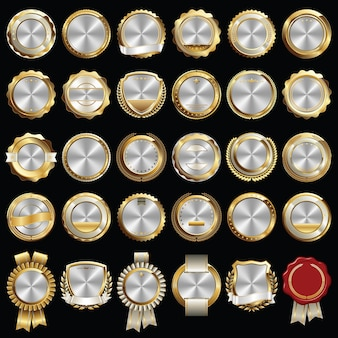 Set of gold silver certificate seals and badges