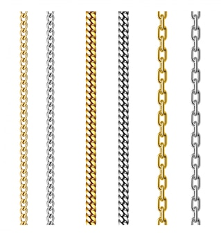 Set of gold and silver chains. jewelry design. realistic 3d illustration isolated on white