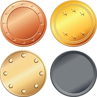 Set of gold, silver, coooper, bronze medals