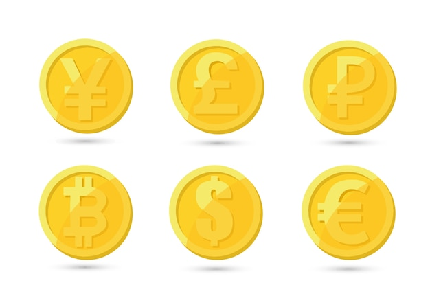 Set of gold and silver crypto currencies with golden bitcoin in front of other crypto currencies as leader isolated on white background.  use for logos, print products