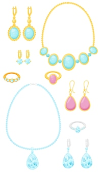 Set of gold and silver jewelry with precious stones