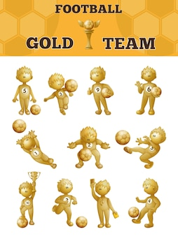 Set of gold soccer players.