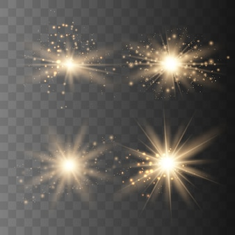Set of gold sparks isolated. vector glowing stars