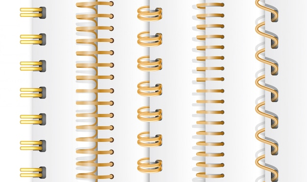 Set of gold vertical spirals