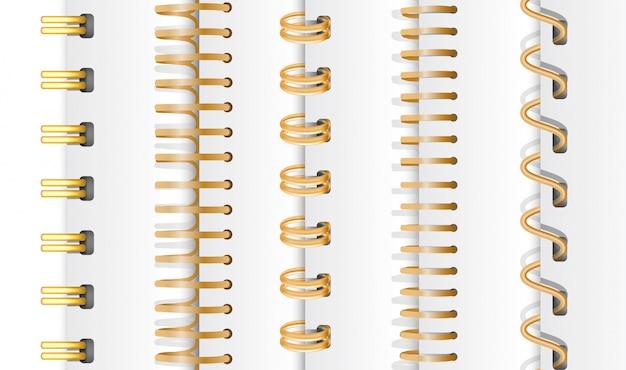 Set of gold vertical spirals Premium Vector
