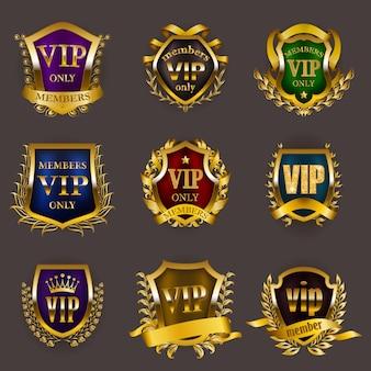 Set of gold vip insignia