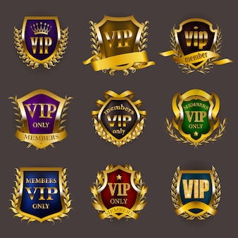 Set of gold vip insignia